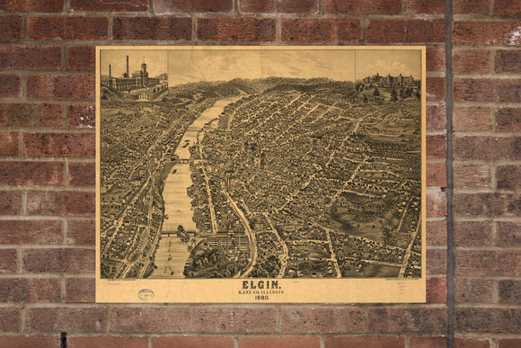 Vintage Elgin Print, Aerial Elgin Photo, Vintage Elgin IL Pic, Old Elgin Photo, Elgin Illinois Poster, 1880