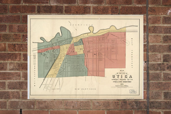 Vintage Utica Print, Aerial Utica Photo, Vintage Utica NY Pic, Old Utica Photo, Utica New York Poster, 1876