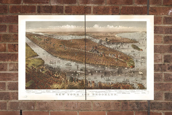 Vintage Brooklyn Print, Aerial Brooklyn Photo, Vintage Brooklyn NY Pic, Old Brooklyn Photo, Brooklyn New York Poster, 1875