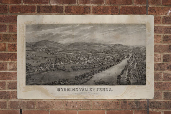 Village of Wyoming Valley Penn'a Print Poster Map from 1885