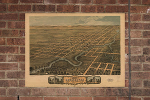 Vintage Rochester Print, Aerial Rochester Photo, Vintage Rochester MN Pic, Old Rochester Photo, Rochester Minnesota Poster, 1869