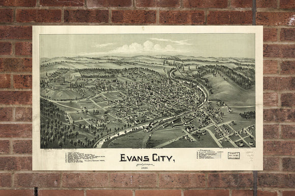 Vintage Evans City Print, Aerial Evans City Photo, Vintage Evans City PA Pic, Old Evans City Photo, Evans City Pennsylvania Poster, 1900