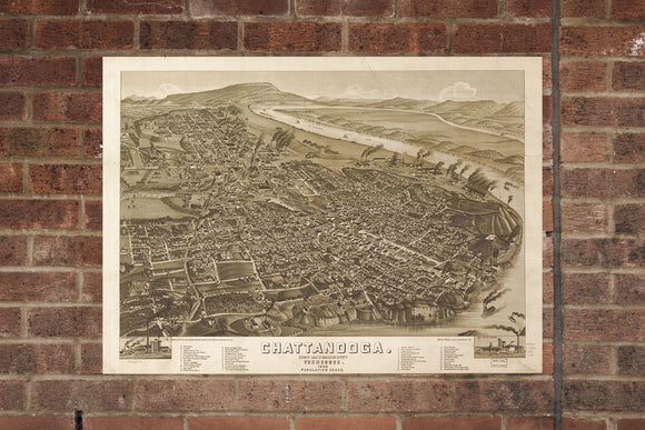 Vintage Chattanooga Print, Aerial Chattanooga Photo, Vintage Chattanooga TN Pic, Old Chattanooga Photo, Chattanooga Tennessee Poster, 1886