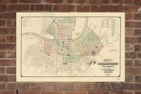 Vintage Nashville Print, Aerial Nashville Photo, Vintage Nashville TN Pic, Old Nashville Photo, Nashville Tennessee Poster, 1877