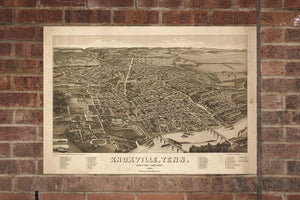 Vintage Knoxville Print, Aerial Knoxville Photo, Vintage Knoxville TN Pic, Old Knoxville Photo, Knoxville Tennessee Poster, 1886