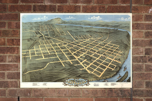 Vintage Chattanooga Print, Aerial Chattanooga Photo, Vintage Chattanooga TN Pic, Old Chattanooga Photo, Chattanooga Tennessee Poster, 1871