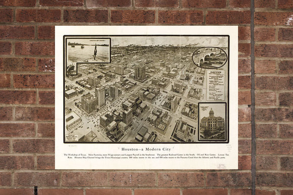 Houston TX Vintage Print Poster 1912 Birds Eye View