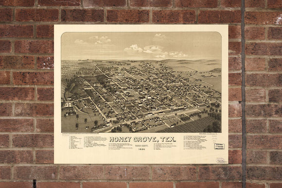 Honey Grove  TX  Vintage Print Poster 1886 Birds Eye View