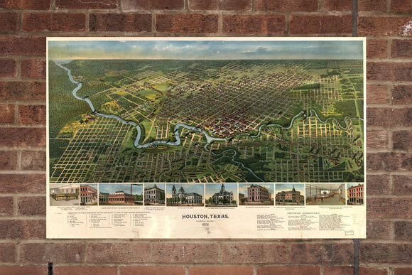 Houston TX Vintage Print Poster 1891 Birds Eye View
