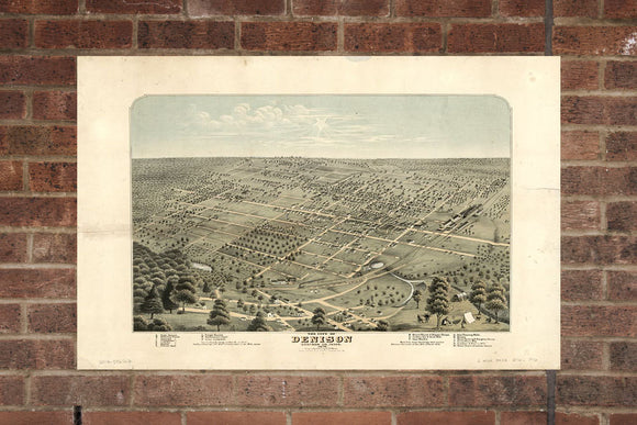 Denison TX Vintage Print Poster 1876 Birds Eye View