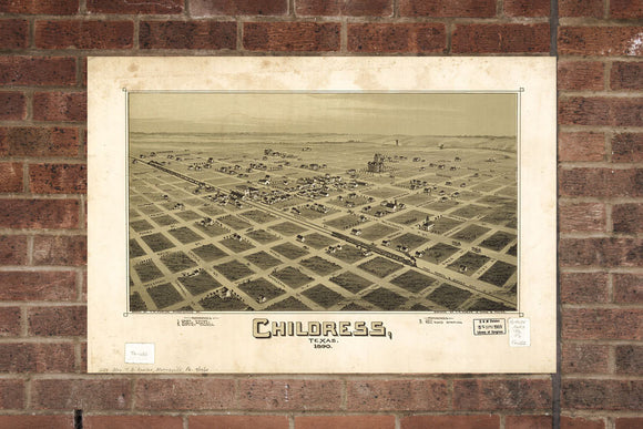 Childress TX Vintage Print Poster 1890 Birds Eye View