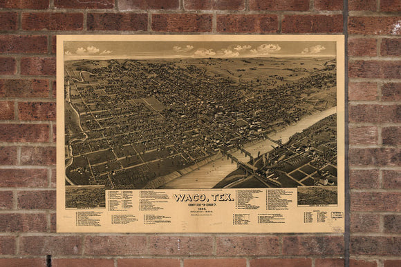 Waco TX Vintage Print Poster 1886 Birds Eye View