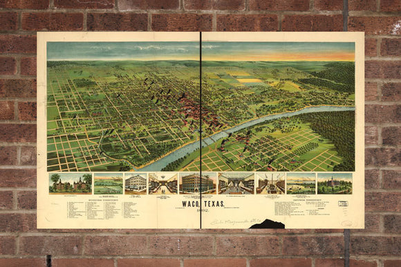 Waco TX Vintage Print Poster 1892 Birds Eye View