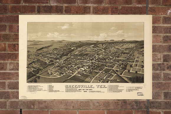 Greenville TX  Vintage Print Poster 1886 Birds Eye View