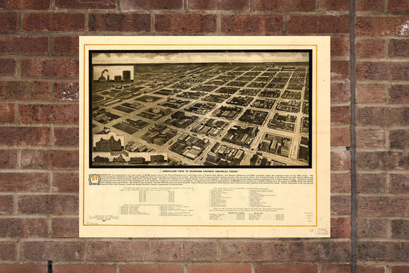 Amarillo TX Vintage Print Poster 1912 Birds Eye View