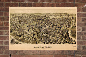 Fort Worth  TX Vintage Print Poster 1891 Birds Eye View