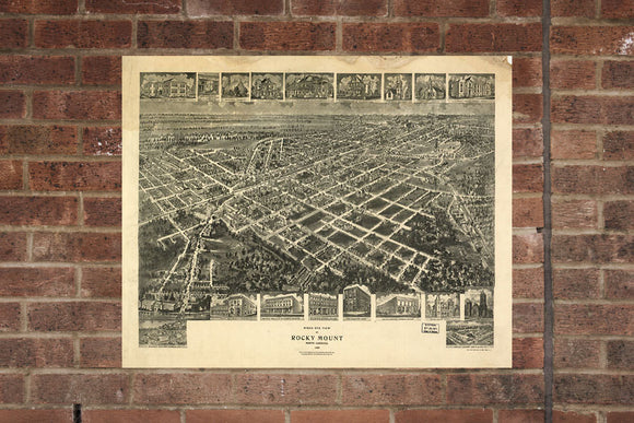 Rocky Mount NC Vintage Print Poster 1907 Birds Eye View