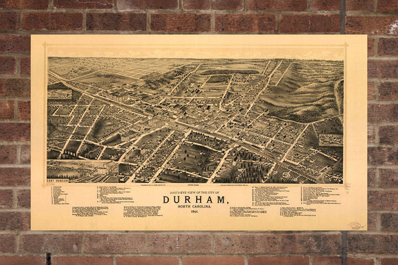 Vintage Durham Print, Aerial Durham Photo, Vintage Durham NC Pic, Old Durham Photo, Durham North Carolina Poster, 1891