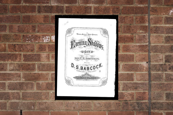 Vintage Sheet Music Poster Print Evening Shadows 1878