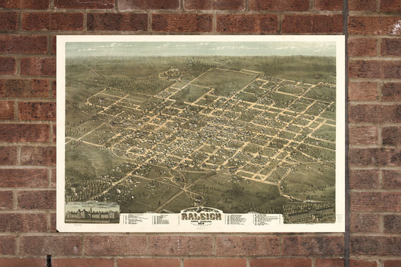 Raleigh  NC Vintage Print Poster 1872 Birds Eye View