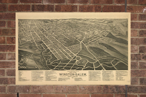 Winston Salem  NC Vintage Print Poster 1891 Birds Eye View