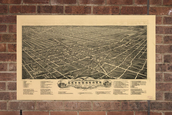 Greensboro  NC Vintage Print Poster 1891 Birds Eye View