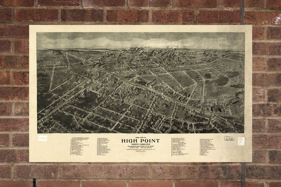 High Point  NC Vintage Print Poster 1913 Birds Eye View
