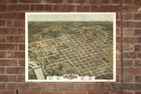 Columbia SC Vintage Print Poster 1872 Birds Eye View