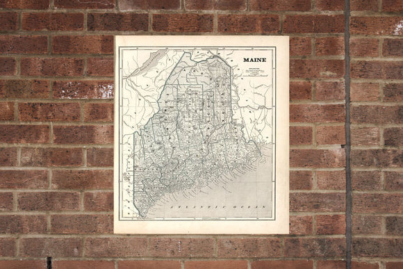 Vintage Maine Print, Aerial Maine Photo, Vintage ME Pic, Old Maine Photo, Maine Poster, 1842