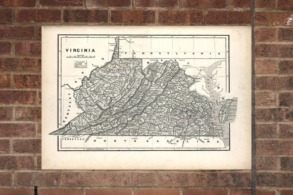 Vintage Virginia Print, Aerial Virginia Photo, Vintage VA Pic, Old Virginia Photo, Virginia Poster, 1842