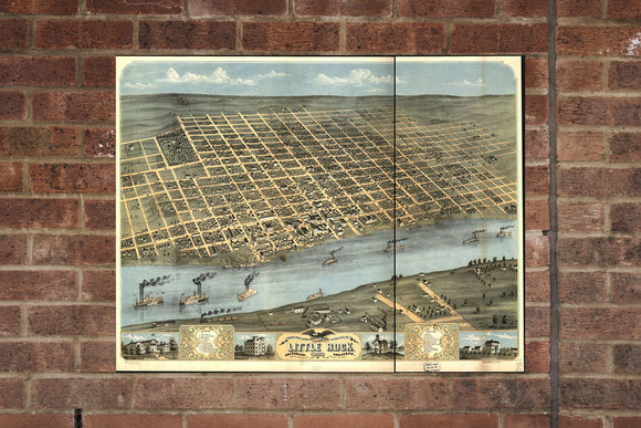 Vintage Little Rock Print, Aerial Little Rock Photo, Vintage Little Rock AR Pic, Old Little Rock Photo, Little Rock Arkansas Poster, 1871