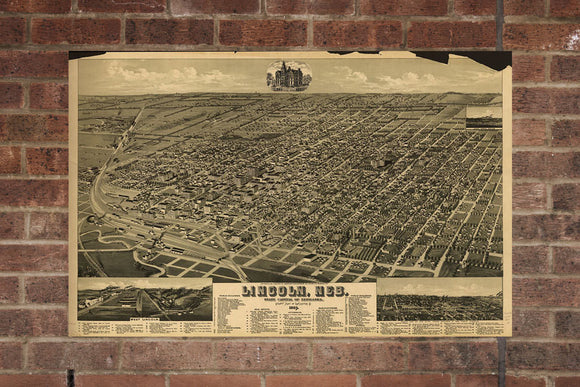 Vintage Lincoln Print, Aerial Lincoln Photo, Vintage Lincoln NE Pic, Old Lincoln Photo, Lincoln Nebraska Poster, 1889