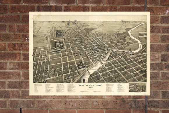 Vintage South Bend Print, Aerial South Bend Photo, Vintage South Bend IN Pic, Old South Bend Photo, South Bend Indiana Poster, 1890