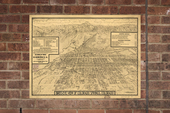 Vintage Colorado Springs Print, Aerial Colorado Springs, Vintage Colorado Springs CO, Old Colorado Springs, Colorado Springs Colorado Poster