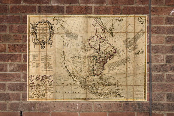 Vintage North America Map Wall Poster  Print 1750