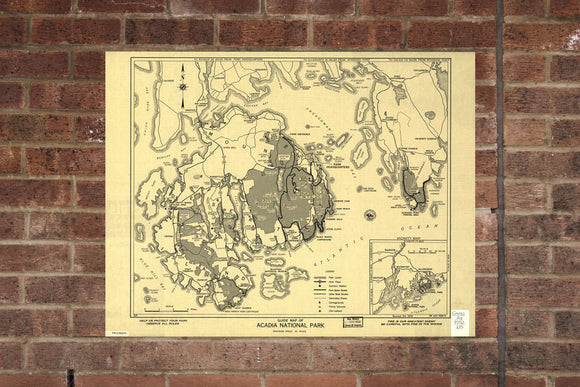 Acadia National Park  Map Wall Poster Vintage Print 1954