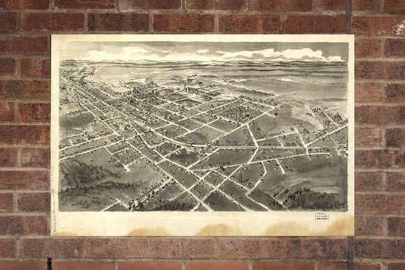 Vintage Hickory Print, Aerial Hickory Photo, Vintage Hickory NC Pic, Old Hickory Photo, Hickory North Carolina Poster, 1907