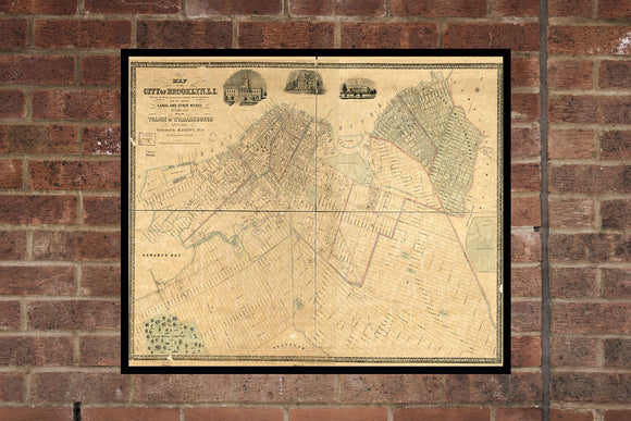 Vintage Brooklyn Print, Aerial Brooklyn Photo, Vintage Brooklyn NY Pic, Old Brooklyn Photo, Brooklyn New York Poster, 1850