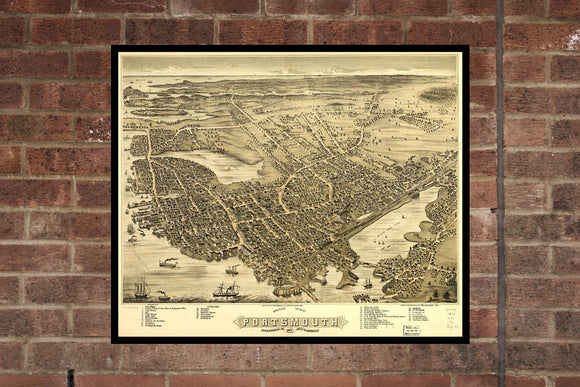 Vintage Portsmouth Print, Aerial Portsmouth Photo, Vintage Portsmouth PA Pic, Old Portsmouth Photo, Portsmouth New Hampshire Poster, 1877