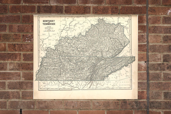 Kentucky and Tennessee Vintage Print Poster Map 1842 Poster of KY TN Map Art Wall Decor