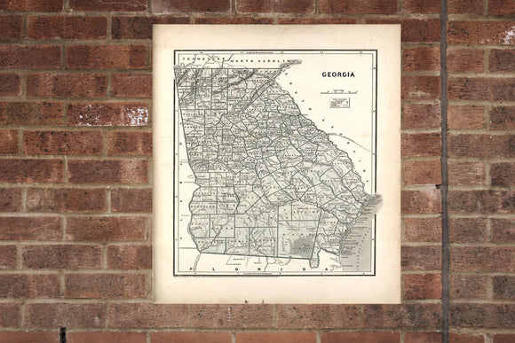 Vintage Georgia Print, Aerial Georgia Photo, Vintage GA Pic, Old Georgia Photo, Georgia Poster, 1842