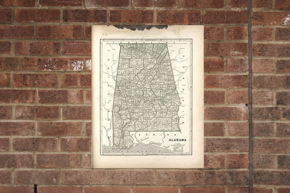 Vintage Alabama Print, Aerial Alabama Photo, Vintage Alabama Pic, Old Alabama  Photo,  Alabama Poster 1842