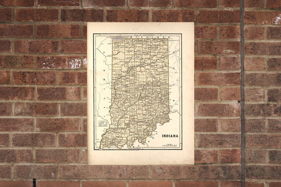 Vintage Indiana Print, Aerial Indiana Photo, Vintage IN Pic, Old Indiana Photo, Indiana Poster, 1842