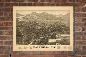 Vintage Ticonderoga Print, Aerial Ticonderoga Photo, Vintage Ticonderoga NY Pic, Old Ticonderoga Photo, Ticonderoga New York Poster, 1884