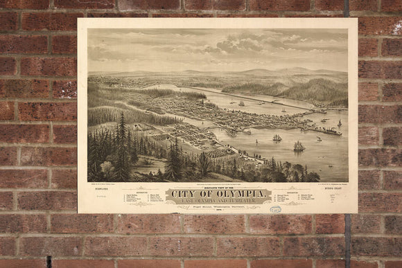 Vintage Olympia Print, Aerial Olympia Photo, Vintage Olympia WA Pic, Old Olympia Photo, Olympia Washington Poster, 1879