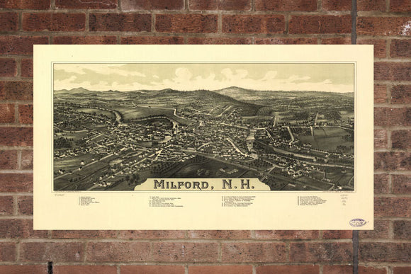 Vintage Milford Print, Aerial Milford Photo, Vintage Milford NH Pic, Old Milford Photo, Milford New Hampshire Poster, 1886