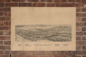Vintage Cleveland Print, Aerial Cleveland Photo, Vintage Cleveland NY Pic, Old Cleveland Photo, Cleveland New York Poster, 1890
