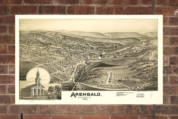 Vintage Archbald Print, Aerial Archbald Photo, Vintage Archbald PA Pic, Old Archbald Photo, Archbald Pennsylvania Poster, 1892