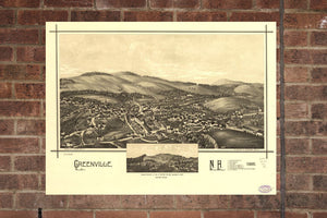 Vintage Greenville Print, Aerial Greenville Photo, Vintage Greenville NH Pic, Old Greenville Photo, Greenville New Hampshire Poster, 1886