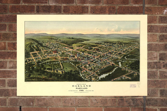 Vintage Oakland Print, Aerial Oakland Photo, Vintage Oakland MD Pic, Old Oakland Photo, Oakland Maryland Poster, 1906